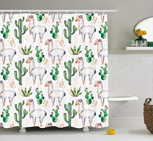 Ambesonne Cactus Shower Curtain, Hot South Desert Plant Cactus Pattern with Camel Animal Modern Colored Image Print, Cloth Fabric Bathroom Decor Set with Hooks, 70