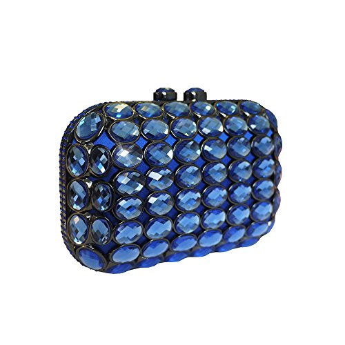 Anna Cecere italien conçu Gioello bijou pochette sac de soirée cocktail - bleu