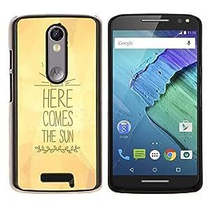 LECELL--Funda protectora / Cubierta / Piel For Motorola MOTO X3 3rd -- aquí viene el texto de sol amarillas letras --