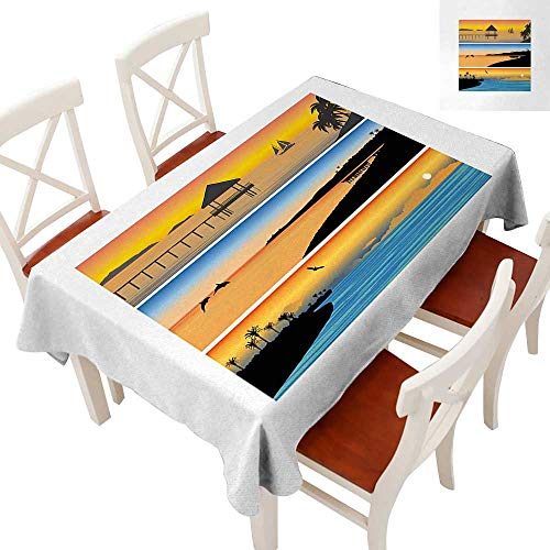 Elegant Waterproof Spillproof Polyester Fabric Table Cover Tablecloths for Rectangle/Oblong/Oval Tables Tropic Island Pattern with Horizontal Banner Style Composition Dolphins Birds Boats Multicolor