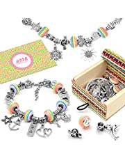 BIIB Girls Charm Bracelet Making Set - Girls Jewellery Making Kits For Kids, Nice Gifts For Girls, Present For 8-12 Year Old Girl, DIY Silver Plated Bead Snake Chain Jewelry Bracelet (3 Silver Chains)