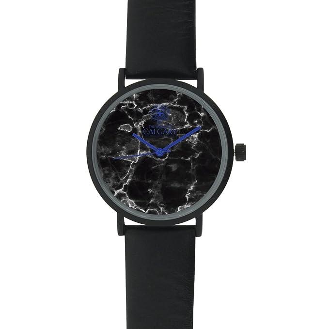 Relojes Calgary Blue Marble - Reloj con correa de piel negra, esfera con estampado de mármol negro. Agujas y logo Calgary en color azul (Negro): Amazon.es: ...