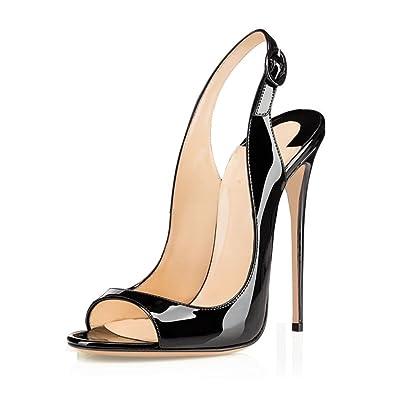 fc5f67488ed LIGHTBACK Women s Peep Toe Stiletto High Heels Slingback Sandals Dress Shoes
