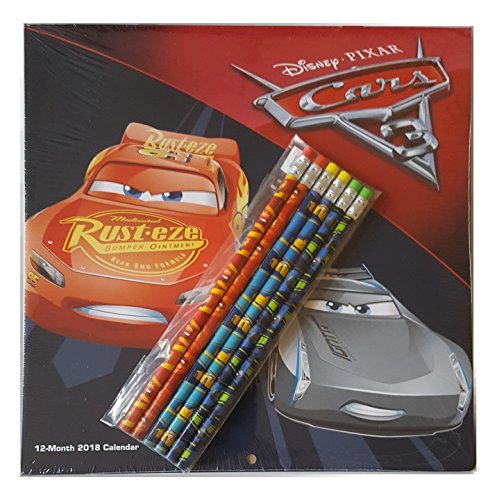 Disney Pixar Cars 3 - 12 Month 2018 Calendar with 6 #2 Wooden Pencils Gift Set ()