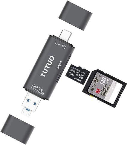 Huawei P30 USB-A y Micro USB 2.0 Adaptador OTG para MacBook Pro TUTUO Lector de Tarjetas USB SD//Micro SD Nexus 5X // 6P 3 en 1 Universal USB Tipo C TF Chromebook Pixel//XL//Pixel C