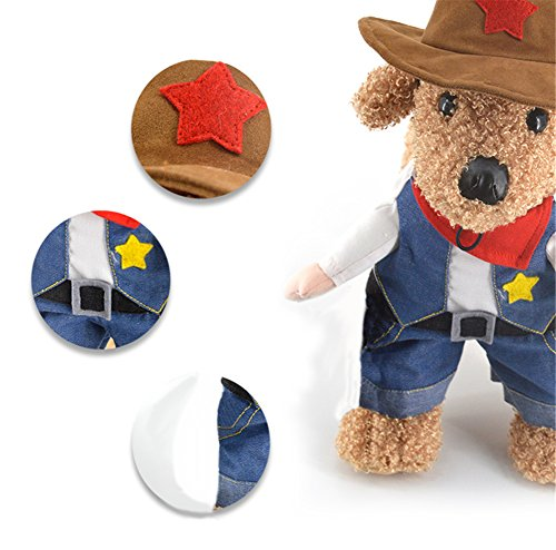 Cowboy For Costume Dogs (Cowboy Pet Costume with Hat Dog Costume Funny Pet Clothing Special Events Costume for Dog & Cat by DELIFUR)