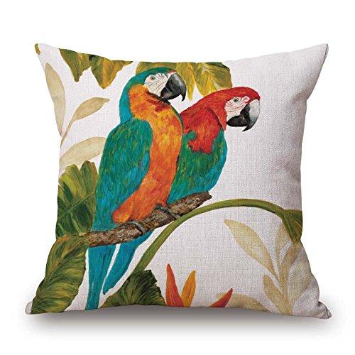 Elliot_yew European Rural Pillow Cushion Linen Cushion Bird and Flower Parrot Cushion Decorative Pillows Home Decor Throw Pillow Cushion 18Inch 18Inch,One-Side Printed-Pattern 4