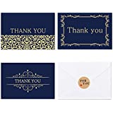 24 Thank You Cards Bulk - (4x6 Photo Size), Navy Blue & Gold Foil, Blank Note Cards with Envelopes, Perfect for Gift Cards, Wedding, Business, Baby Shower, Graduation, Funeral