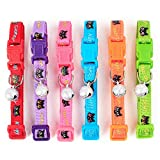 CatYou 6PCS Pet Cat Puppy Breakaway Collars with Small Jingle Bells for Cats Baby Puppies Dogs Small Animals, 7.8'' to 13'' Adjustable