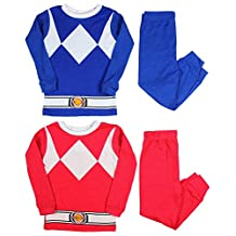 Ame Kids Mighty Morphin Power Rangers Red and Blue Ranger Costume Pajama Sets