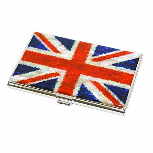 Mother of Pearl Design Union Jack England Flagge Kreditkarten Name, ID Karten-Halter aus Metall Edelstahl, dünn, Geldbörse Tasche Brieftasche Cash Money
