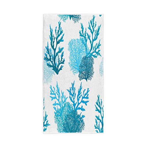 Semtomn 14 x 30 Inches Bath Towel Pattern Blue Coral Reef on Underwater Ocean Water Aquarium Soft Absorbent Travel Guest Decor Hand Towels Washcloth for Bathroom(One Side Printing)