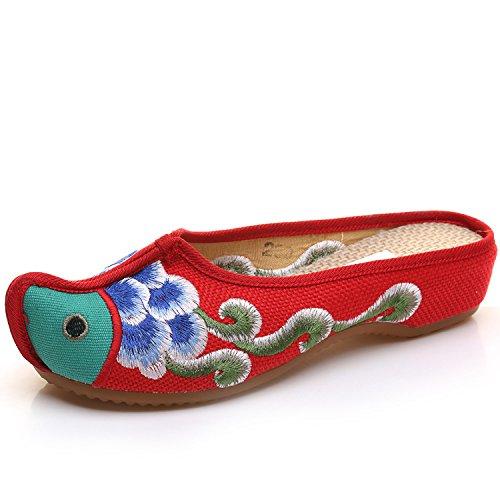 Moda desy bordadas aleatorio estilo Chanclas cómodas Zapatillas Mujer Unico tendón étnico Sandalias rojo q6ZrSq8p