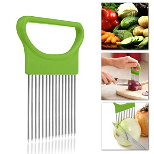 Iuhan New Tomato Onion Vegetables Slicer Cutting Aid Holder Guide Slicing Cutter Safe Fork (Green)