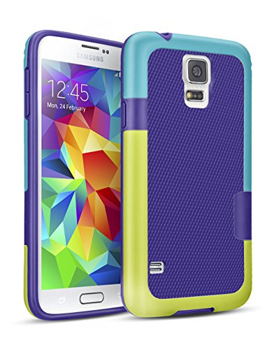 Galaxy S5 Case, TILL(TM) Hybrid Impact Defender 3 Color Rugged Case, Soft PC Bumper + Soft TPU Back Shockproof Protective Slim Cover Shell for Samsung Galaxy S5 I9600 GS5 G900V(Blue & Yellow)