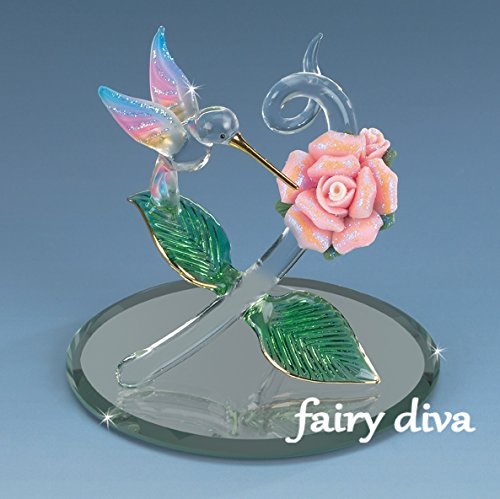 Fairy Diva (DC) Miniature Collectible Hummingbird Hovers Atop A Rose & Sucks Nectar With His 22k Gold Beak Crystal Figurine Porcelain Pink Rose Airbrushed Glitter ()