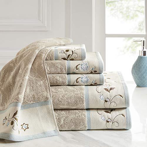 Madison Park Serene Embroidered Cotton Jacquard 6 Piece Towel Set, See Below Below, Blue