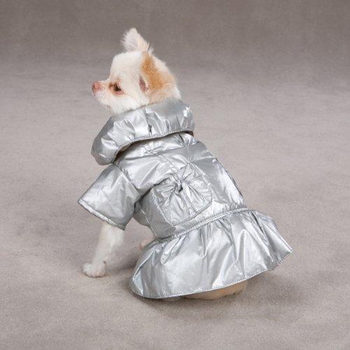Dog Winter Dazzle Puffy Coat Small/Medium Platinum Color, My Pet Supplies