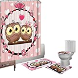 owl bathroom mat Amagical 16 Piece Toilet Seat Cover Rug Set and Shower Curtain Set Bathroom Non-Slip Lovely Owl Pedestal Rug + Lid Toilet Cover + Bath Mat Pink with 12 Hooks
