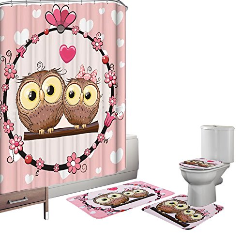 Amagical 16 Piece Toilet Seat Cover Rug Set and Shower Curtain Set Bathroom Non-Slip Lovely Owl Pedestal Rug + Lid Toilet Cover + Bath Mat Pink with 12 Hooks (Owl Bathroom Accessories)
