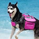 ThinkPet Outdoor Dog Backpack Reflective Saddle Bag - Dog Pack Double Bag for Hound Travel Rucksack for Medium Large Dogs 16