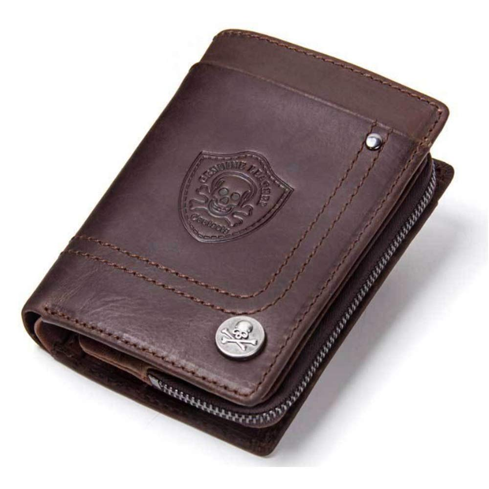 Ruanyi Wallet Leather Retro Tri-Fold Clutch Crazy Horse Coat Purse for Men Color : Brown, Size : S