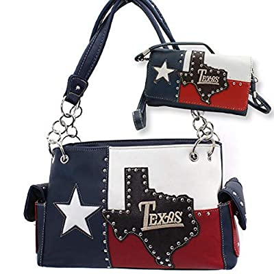 Texas Western Rhinestone concealed weapon handbag and wallet set