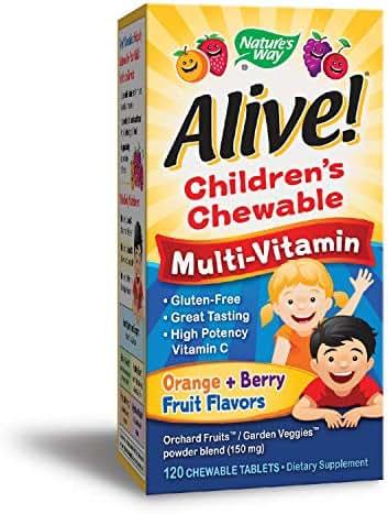 Nature's Way  Alive!® Children's Premium Chewable Multivitamin, Fruit and Veggie Blend (150mg per serving), Gluten Free, 120 Chewable Tablets
