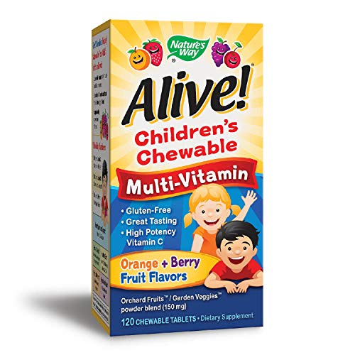 (Nature's Way  Alive! Children's Premium Chewable Multivitamin, Fruit and Veggie Blend (150mg per serving), Gluten Free, 120 Chewable Tablets)