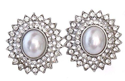 Elegant Oval Imitation White Pearl and Rhinestone Starburst Formal Bridal Prom Pageant Post -