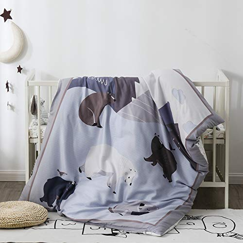 Pomco Mini Crib Bedding Set, 5PCS Bear Crib Baby Bedding Set-Includes Crib Comforter and Pillow Insert, Crib Duvet Cover, Fitted Sheet and Pillowcase, Animal Crib Bedding Set for Baby Boy Girl from PomCo