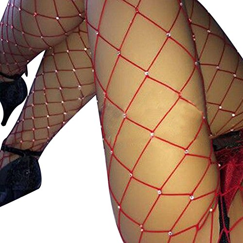 (DancMolly Sparkle Rhinestone Fishnet Stockings Crystal High Waist Mesh Hollow Out Pantyhose for Women Tights Set (One Size, 1 Pair Red Rhinestone Fishnet Stockings-Big)
