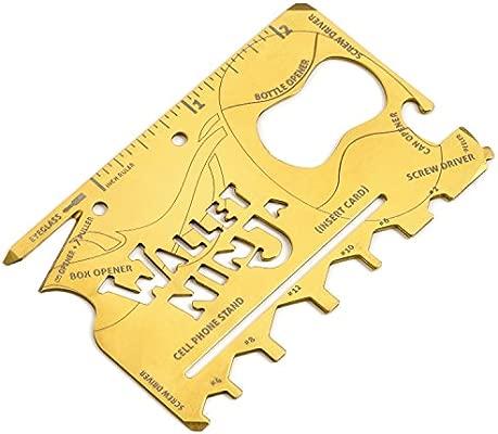 Edición limitada oro Wallet Ninja 18 en 1 Multiusos Tamaño de tarjeta de Crédito Herramienta multiusos con caja de regalo y certificado de ...