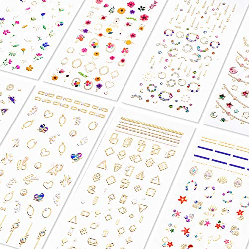 Simple Halloween Designs For Nails (TailaiMei 3D Laser Bronzing Nail Decals, 300+ Pcs Glitter Self-adhesive Stickers DIY Sparkle Nail Art Design (8 Large)