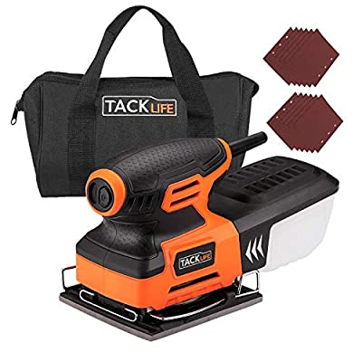 TACKLIFE 1/4 Sheet Sander, 2.2A Palm Sander with 12Pcs Sanding Sheets, Hook and Loop Pad, Carrying Bag, 10Feet Length Power Cord - PSS01A