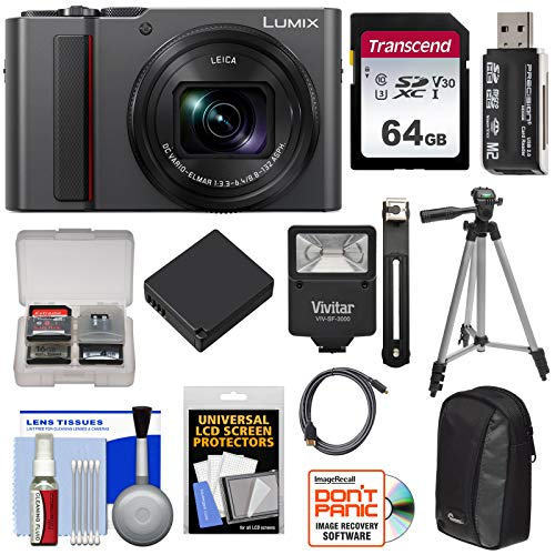 Panasonic Lumix DC-ZS200 4K Wi-Fi Digital Camera (Silver) with 64GB Card + Case + Battery + Tripod + Flash Kit For Sale