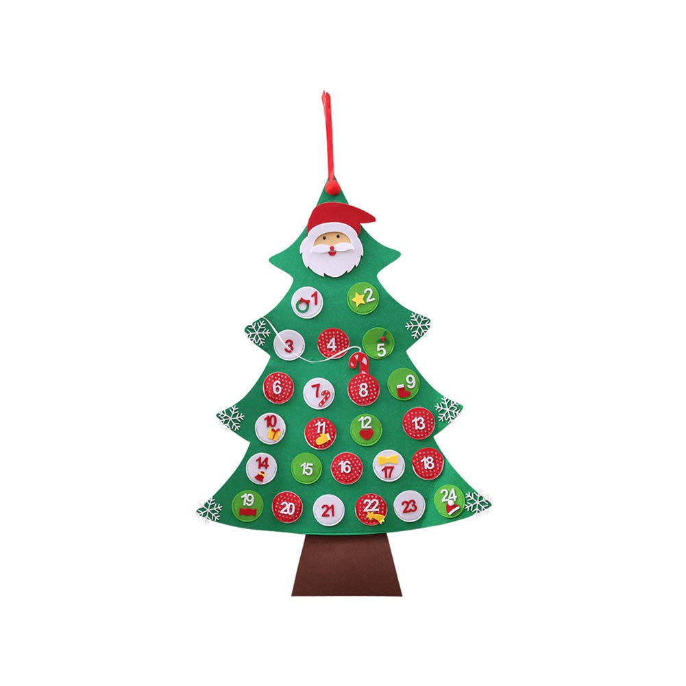 preliked Lovely Christmas Tree 24-Day Calendar Countdown Xmas Hanging Ornament for Home Hotel Gift