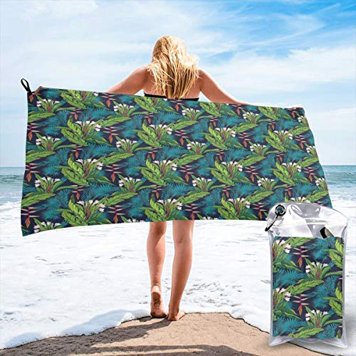 Banana Fish Jungle Gym - K0k2to Fast Drying Beach Travel Camping Towel,Tropical Jungle Palm Tree Banana Leaves Frangipani Heliconia On A Dark Blue Background,Quick Dry Lightweight Bath Towel