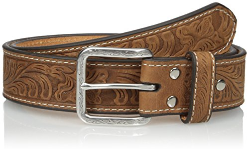 Nocona Belt Co. Men's Floral Embose, Medium Brown, 34 (Western Mens Belts Leather)