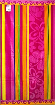 Egyptian Bedding Egyptian Cotton Jacquard Oversized Beach Towel, Exotic Floral Stripes