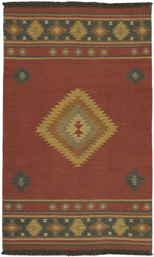 Surya Southwestern/Lodge Rectangle Area Rug 5'x8' Maroon, Midnight Blue Jewel Tone Collection Midnight Red Area Rugs