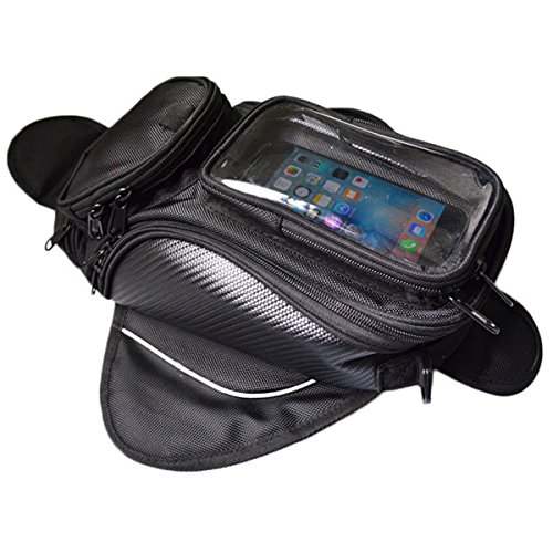 Lozom Motorcycle Gas Oil Fuel Tank Bag Waterproof Backpack & Magnetic Motorcycle Tank Bag for Honda Yamaha Suzuki Kawasaki ()