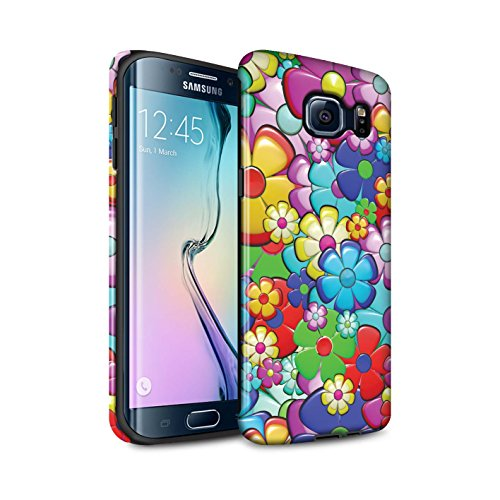 STUFF4 Gloss Tough Shock Proof Phone Case for Samsung Galaxy S6 Edge/Vibrant Flower Power Design/Hippie Hipster Art Collection