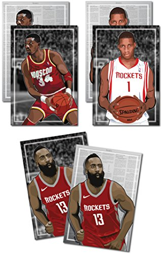 Oakley Graphics 3 Posters of Houston Rockets - James Harden, Hakeem Olajuwon, Tracy McGrady Art Prints - Buy 1 Get 2 Free, 3 Total Prints (2-Sided) (XL Set - 18