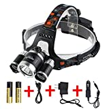 Boruit 3*L2 Cree Led Rechargeable Waterproof Headlamp Brightest Comfortable Wearing Head Light