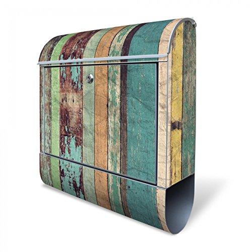 Design Briefkasten mit Zeitungsfach, Designer Motivbriefkasten mit Zeitungsrolle kaufen, für A4 Post, groß, bunt, Briefkastenschloss 2 Schlüssel, von banjado Motiv Bunte Bretterwand