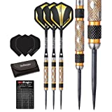 Red Dragon Golden Eye 22g, 24g, 26g, 28g, 30g, 32g Tungsten Steel Darts with Flights, Shafts, Wallet & Red Dragon Checkout Card