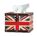 MODE HOME Union Jack Style Vintage Square Wooden Tissue Box Napkin Tissue Holder (Union Jack)