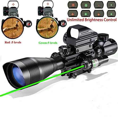 200 Mw Green Laser (AR15 Scopes and Optics, Saige Hunting Tactical Rifle Scope Combo C4-16x50EG with Green Laser and Holographic Red&Green Dot Sight for 22&11mm Weaver/Picatinny Rail Mount-12 Month Warranty)