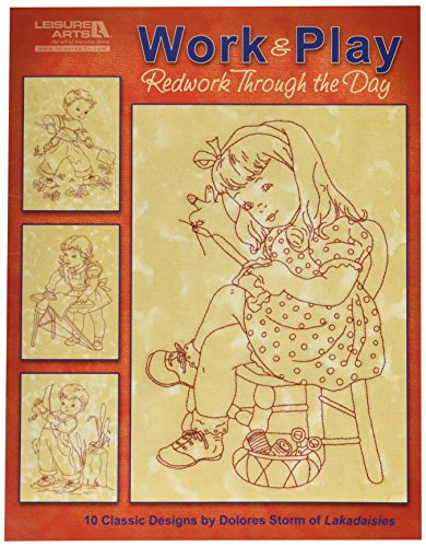 Leisure Arts Work & Play, Redwork Through The Day Book